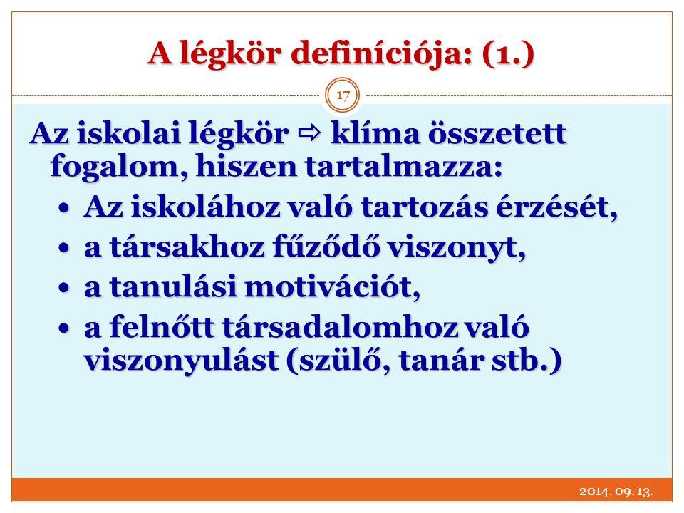 A légkör definíciója: (1.) 2014. 09. 13. 17 Az iskolai légkör  klíma összetett fogalom, hiszen tartalmazza: Az iskolához való tartozás érzését, Az is