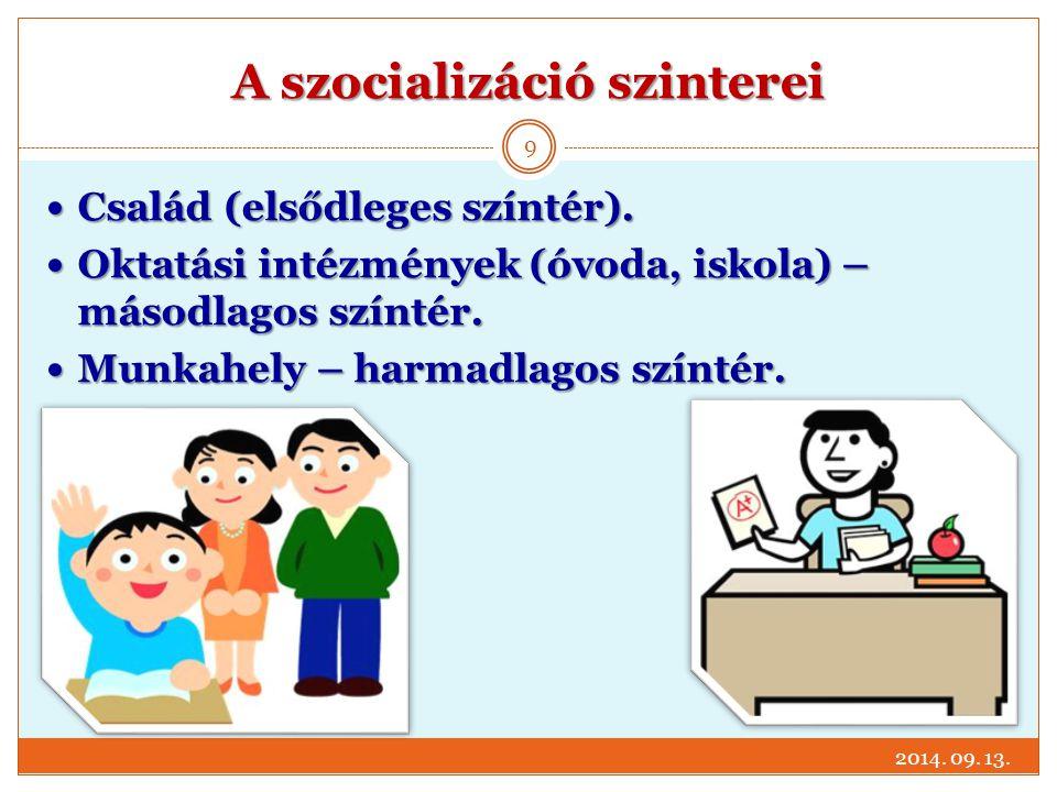 A szocializáció szinterei Család (elsődleges színtér). Család (elsődleges színtér). Oktatási intézmények (óvoda, iskola) – másodlagos színtér. Oktatás