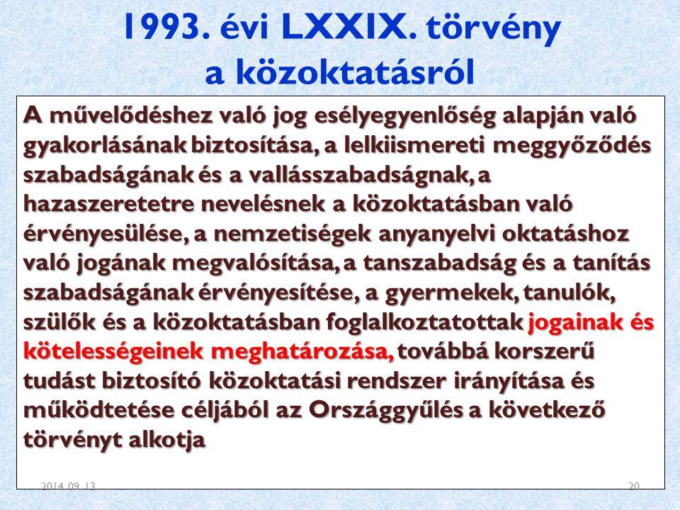 1993. évi LXXIX. törvény a közoktatásról A művelődéshez való jog esélyegyenlőség alapján való gyakorlásának biztosítása, a lelkiismereti meggyőződés s