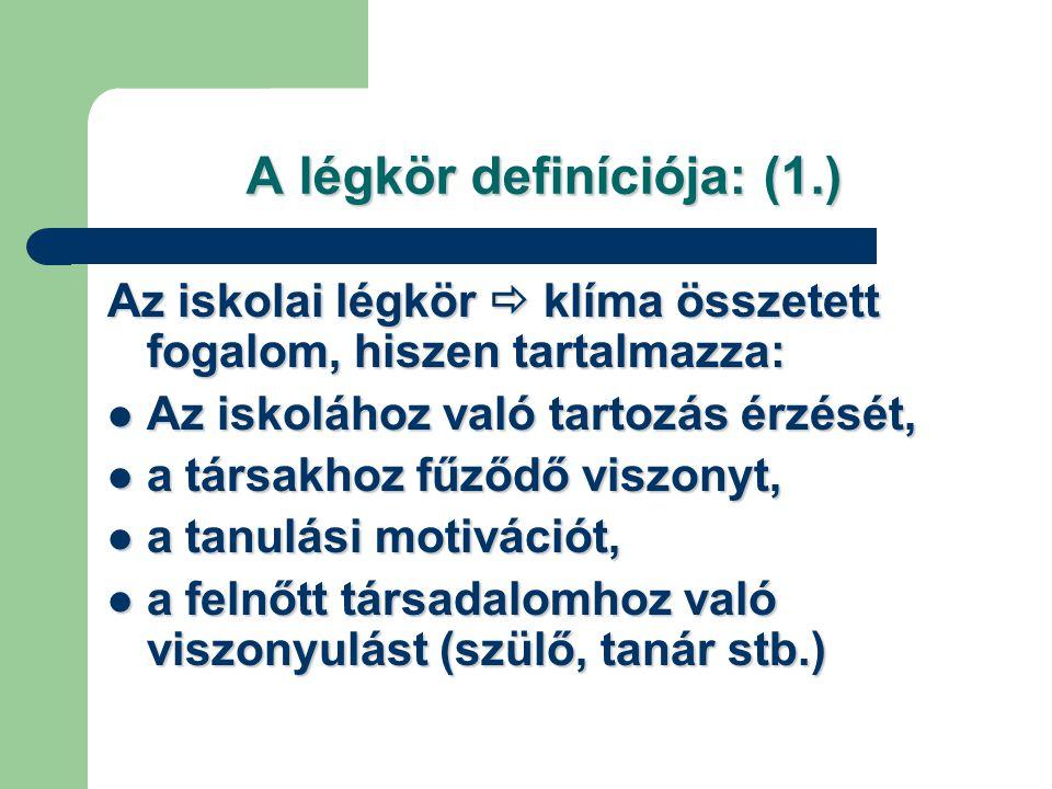 """A légkör definíciója: (2.) Ormai Vera szerint: """"Az iskolai légkört leginkább a személyes viszonyok és a tárgyi körülmények befolyásolják."""