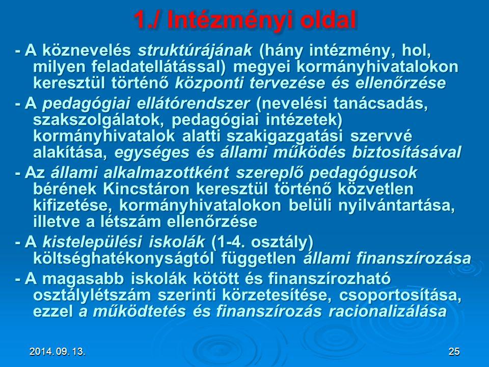 - A köznevelés struktúrájának (hány intézmény, hol, milyen feladatellátással) megyei kormányhivatalokon keresztül történő központi tervezése és ellenő