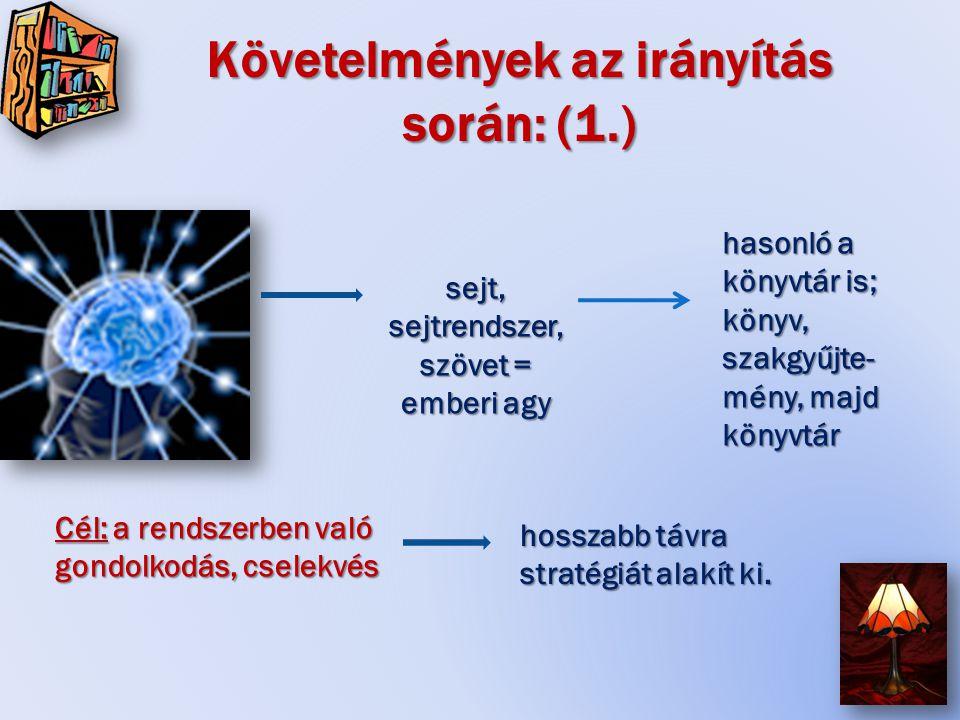 Követelmények az irányítás során: (1.) sejt, sejtrendszer, szövet = emberi agy Cél: a rendszerben való gondolkodás, cselekvés hosszabb távra stratégiát alakít ki.