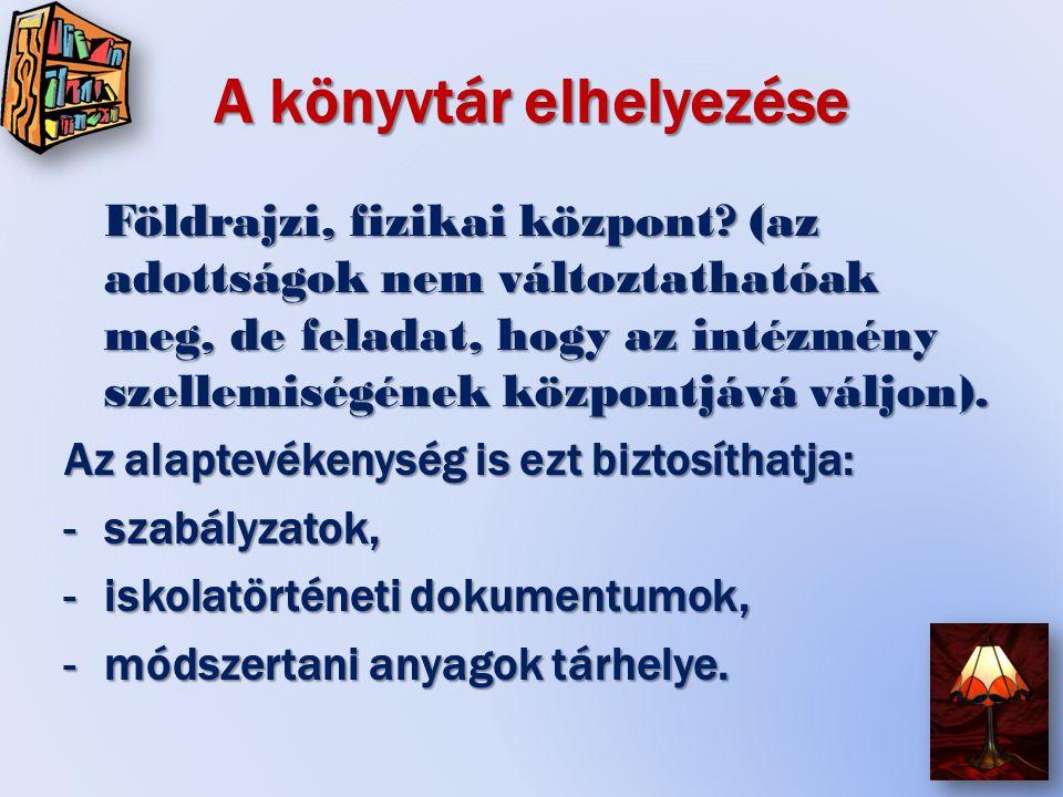 Követelmények az irányítás során: (4.) Az intézmény kommunikációs rendszerének központja a könyvtár.