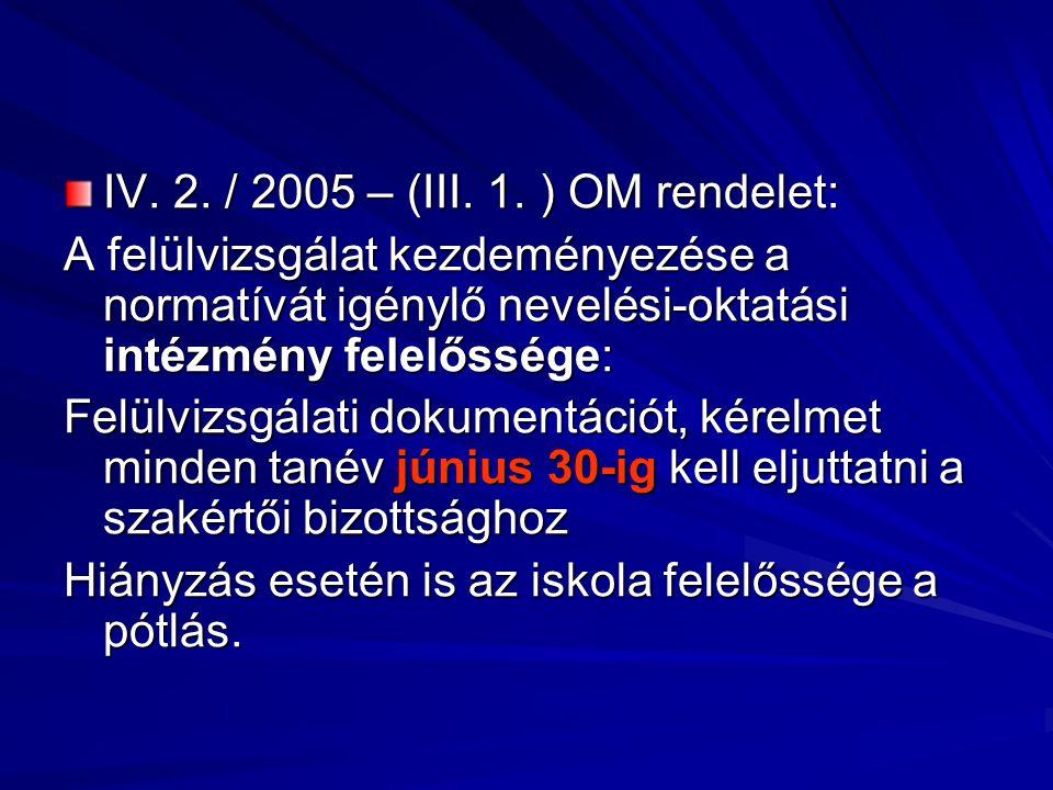 IV. 2. / 2005 – (III. 1. ) OM rendelet: A felülvizsgálat kezdeményezése a normatívát igénylő nevelési-oktatási intézmény felelőssége: Felülvizsgálati