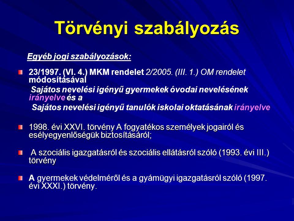 Törvényi szabályozás Egyéb jogi szabályozások: 23/1997. (VI. 4.) MKM rendelet 2/2005. (III. 1.) OM rendelet módosításával Sajátos nevelési igényű gyer