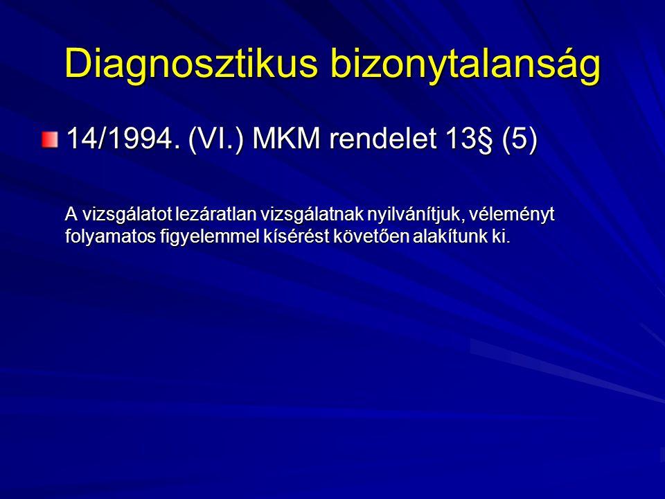 Diagnosztikus bizonytalanság 14/1994. (VI.) MKM rendelet 13§ (5) A vizsgálatot lezáratlan vizsgálatnak nyilvánítjuk, véleményt folyamatos figyelemmel