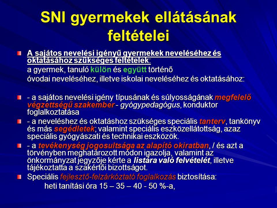 SNI gyermekek ellátásának feltételei A sajátos nevelési igényű gyermekek neveléséhez és oktatásához szükséges feltételek: a gyermek, tanuló és történő