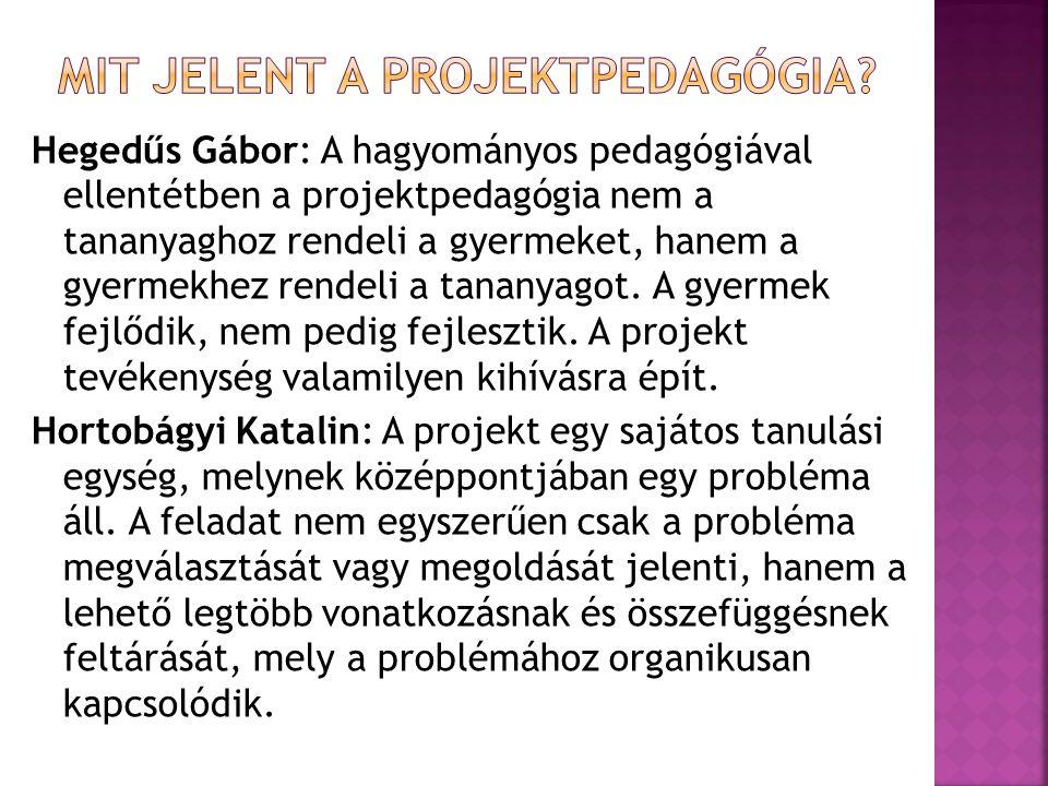 Hegedűs Gábor: A hagyományos pedagógiával ellentétben a projektpedagógia nem a tananyaghoz rendeli a gyermeket, hanem a gyermekhez rendeli a tananyago