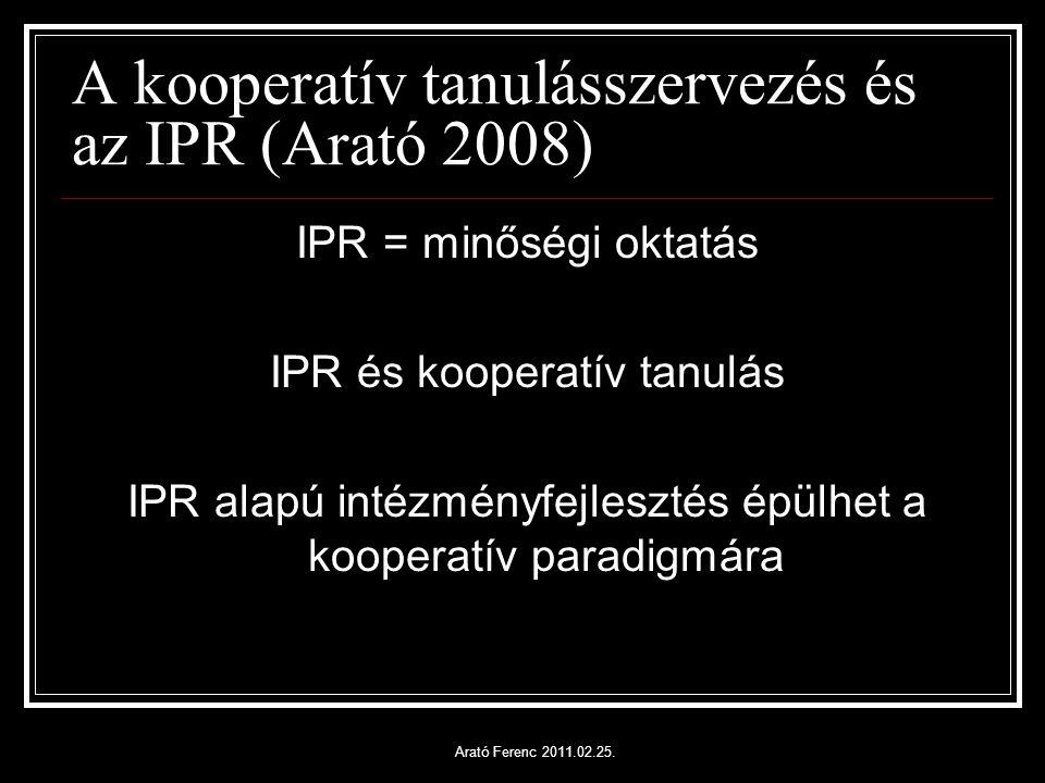 A kooperatív tanulásszervezés és az IPR (Arató 2008) IPR = minőségi oktatás IPR és kooperatív tanulás IPR alapú intézményfejlesztés épülhet a kooperatív paradigmára Arató Ferenc 2011.02.25.