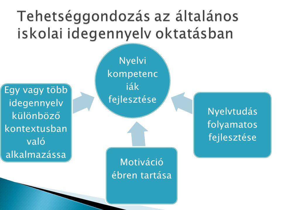 Nyelvi kompetenc iák fejlesztése Egy vagy több idegennyelv különböző kontextusban való alkalmazássa Motiváció ébren tartása Nyelvtudás folyamatos fejlesztése