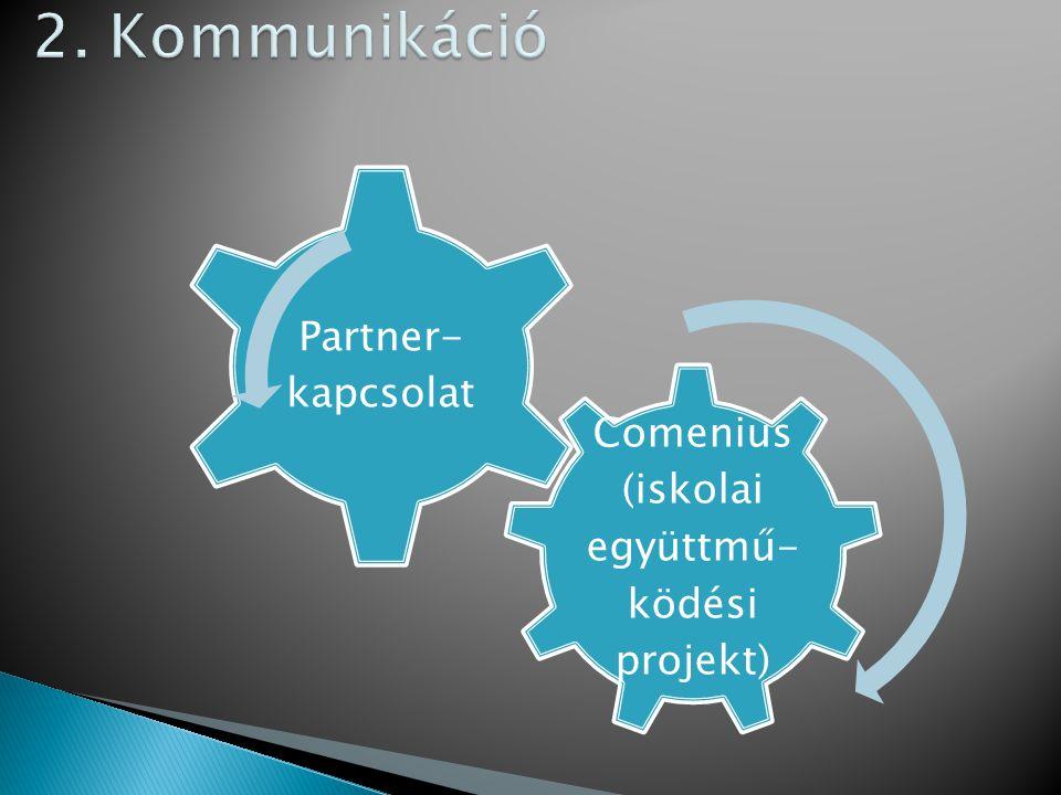 Comenius (iskolai együttmű- ködési projekt) Partner- kapcsolat