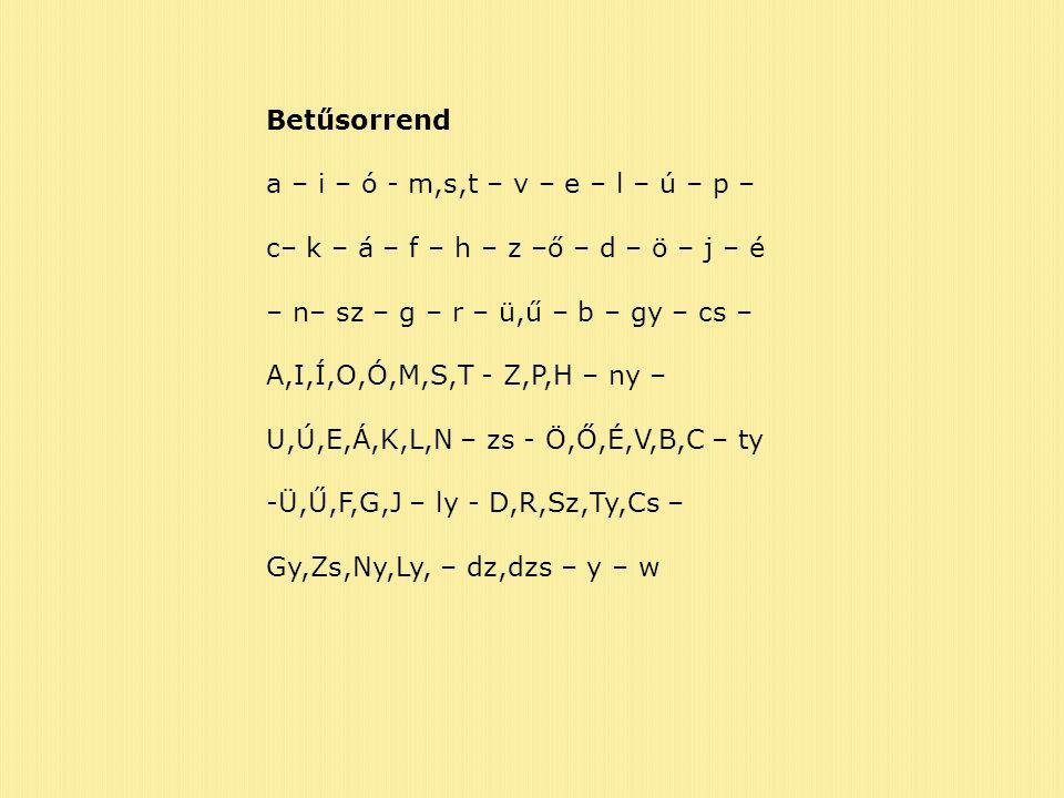 Betűsorrend a – i – ó - m,s,t – v – e – l – ú – p – c– k – á – f – h – z –ő – d – ö – j – é – n– sz – g – r – ü,ű – b – gy – cs – A,I,Í,O,Ó,M,S,T - Z,