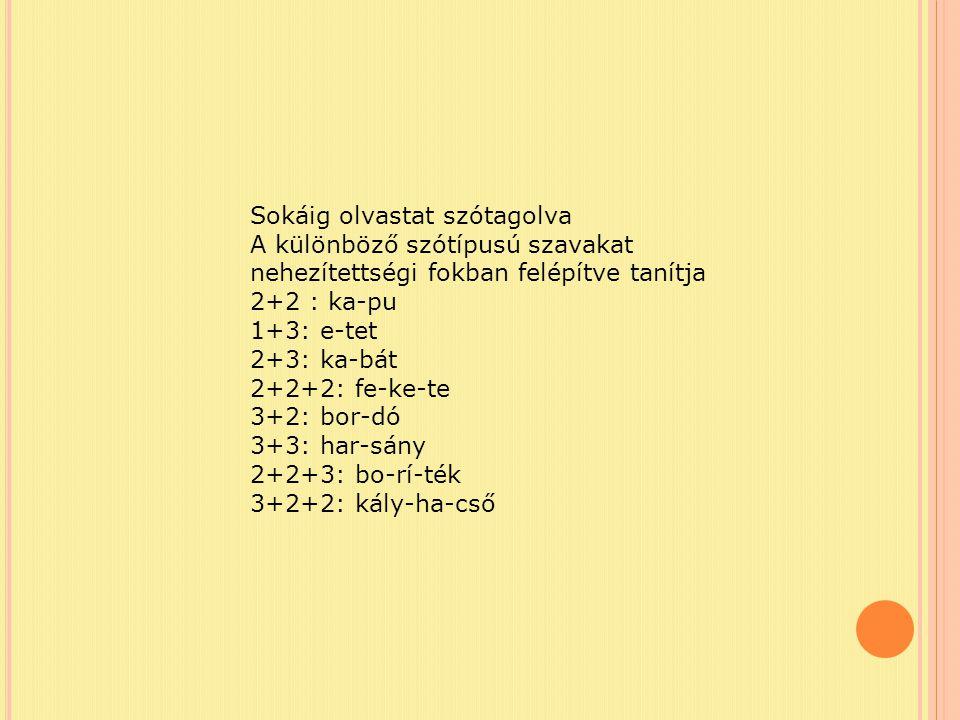 Sokáig olvastat szótagolva A különböző szótípusú szavakat nehezítettségi fokban felépítve tanítja 2+2 : ka-pu 1+3: e-tet 2+3: ka-bát 2+2+2: fe-ke-te 3