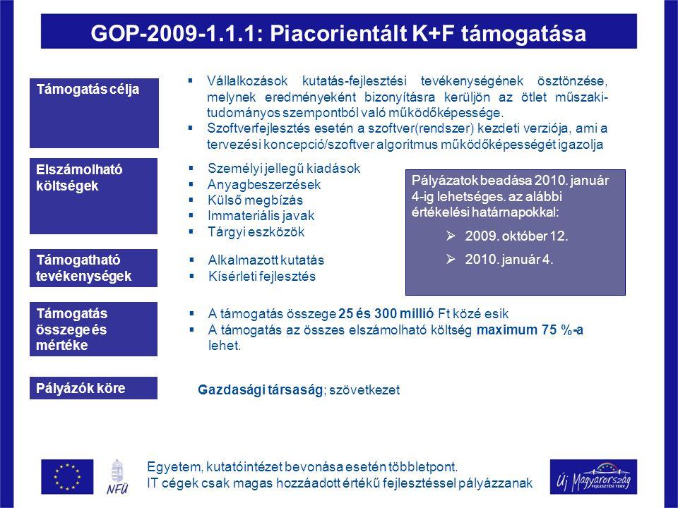 GOP-2009-1.1.1: Piacorientált K+F támogatása Támogatás célja  Vállalkozások kutatás-fejlesztési tevékenységének ösztönzése, melynek eredményeként bizonyításra kerüljön az ötlet műszaki- tudományos szempontból való működőképessége.