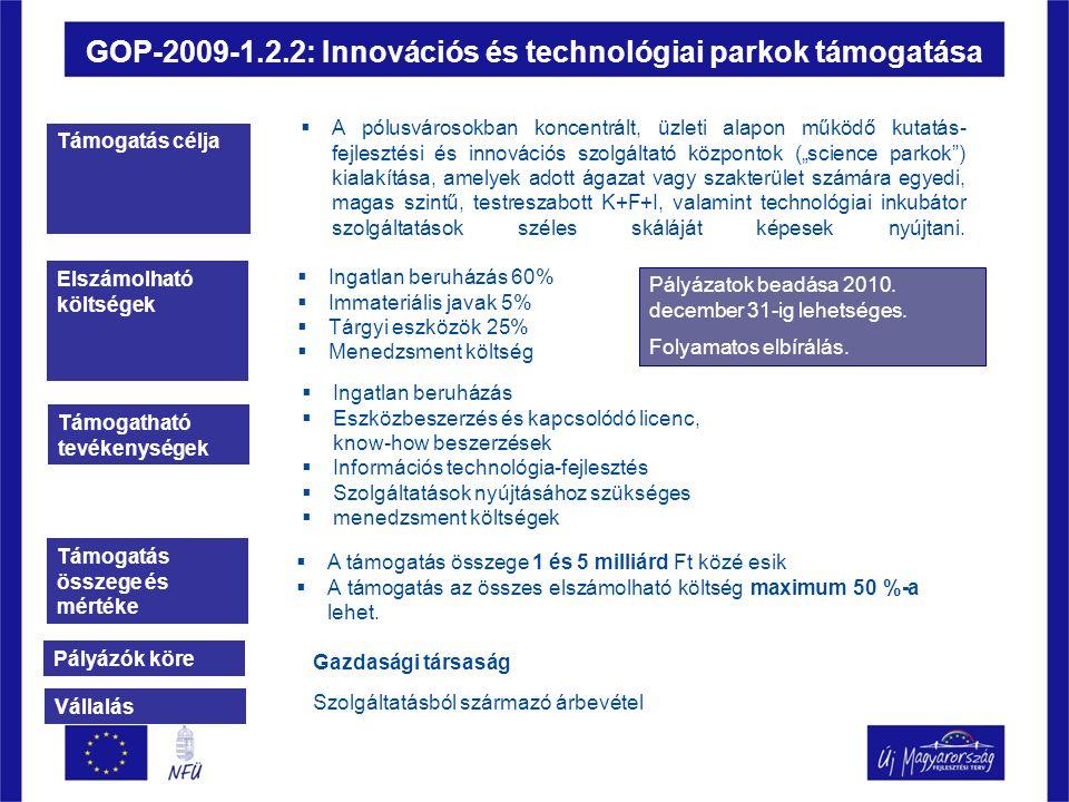 """GOP-2009-1.2.2: Innovációs és technológiai parkok támogatása Támogatás célja  A pólusvárosokban koncentrált, üzleti alapon működő kutatás- fejlesztési és innovációs szolgáltató központok (""""science parkok ) kialakítása, amelyek adott ágazat vagy szakterület számára egyedi, magas szintű, testreszabott K+F+I, valamint technológiai inkubátor szolgáltatások széles skáláját képesek nyújtani."""