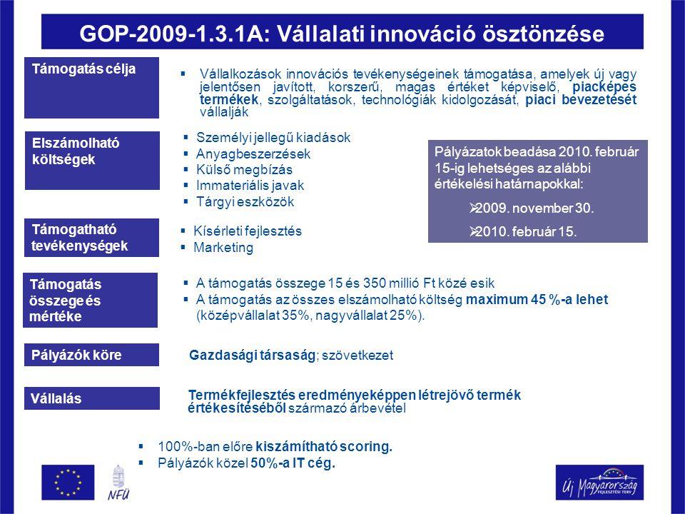 GOP-2009-1.3.1A: Vállalati innováció ösztönzése Támogatás célja  Vállalkozások innovációs tevékenységeinek támogatása, amelyek új vagy jelentősen javított, korszerű, magas értéket képviselő, piacképes termékek, szolgáltatások, technológiák kidolgozását, piaci bevezetését vállalják Elszámolható költségek  Személyi jellegű kiadások  Anyagbeszerzések  Külső megbízás  Immateriális javak  Tárgyi eszközök Támogatható tevékenységek  Kísérleti fejlesztés  Marketing Támogatás összege és mértéke  A támogatás összege 15 és 350 millió Ft közé esik  A támogatás az összes elszámolható költség maximum 45 %-a lehet (középvállalat 35%, nagyvállalat 25%).