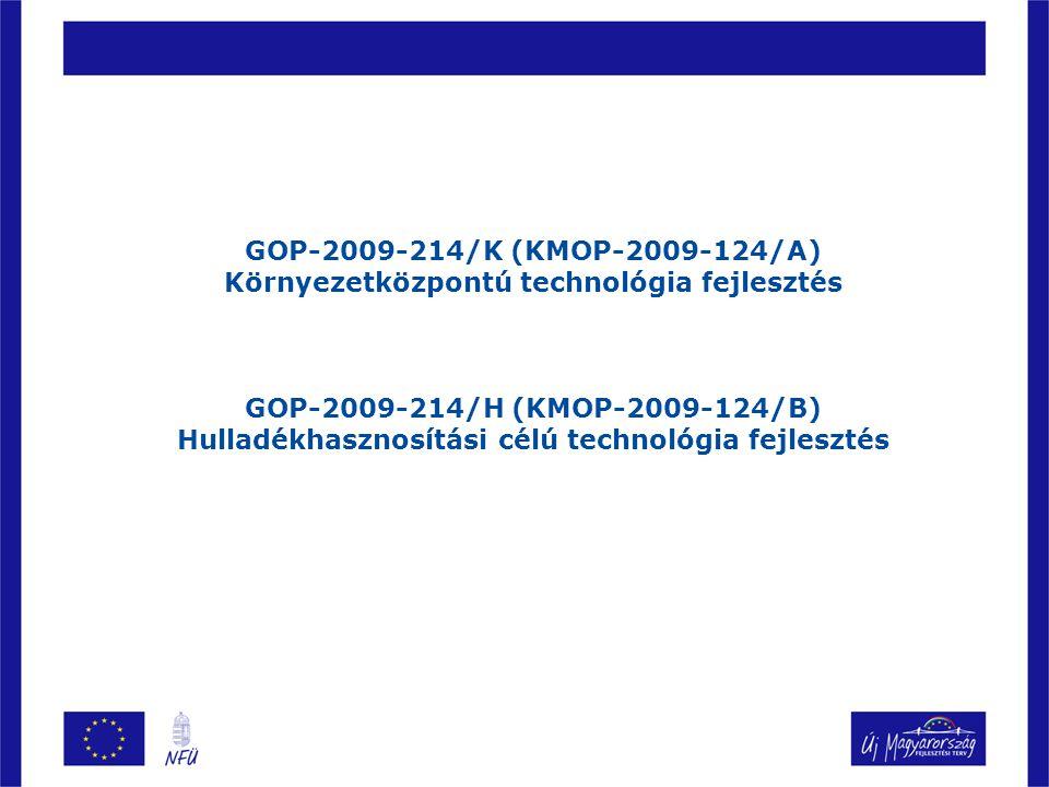 GOP-2009-214/K (KMOP-2009-124/A) Környezetközpontú technológia fejlesztés GOP-2009-214/H (KMOP-2009-124/B) Hulladékhasznosítási célú technológia fejle