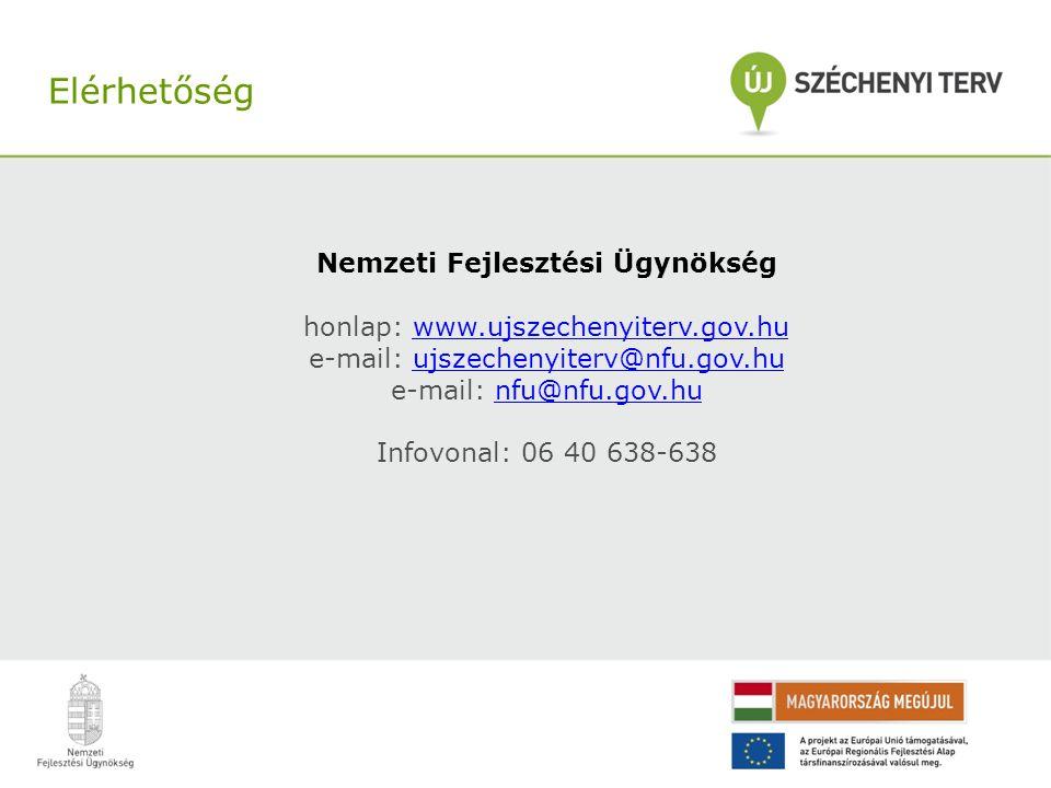 Nemzeti Fejlesztési Ügynökség honlap: www.ujszechenyiterv.gov.huwww.ujszechenyiterv.gov.hu e-mail: ujszechenyiterv@nfu.gov.huujszechenyiterv@nfu.gov.h