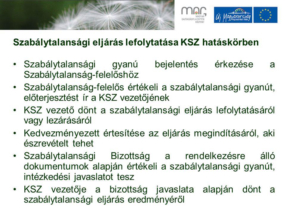 Szabálytalansági eljárás lefolytatása KSZ hatáskörben Szabálytalansági gyanú bejelentés érkezése a Szabálytalanság-felelőshöz Szabálytalanság-felelős