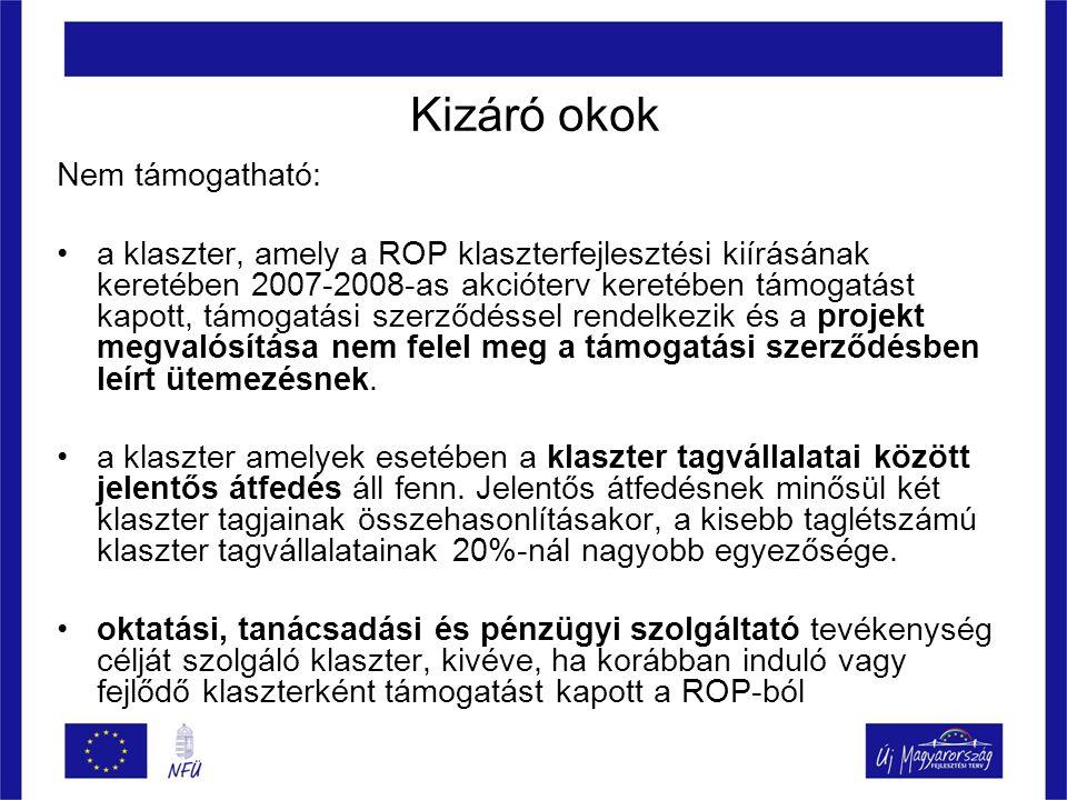 Kizáró okok Nem támogatható: a klaszter, amely a ROP klaszterfejlesztési kiírásának keretében 2007-2008-as akcióterv keretében támogatást kapott, támogatási szerződéssel rendelkezik és a projekt megvalósítása nem felel meg a támogatási szerződésben leírt ütemezésnek.