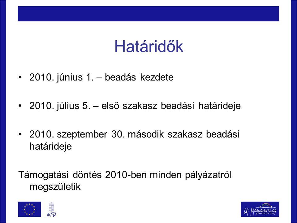 Határidők 2010. június 1. – beadás kezdete 2010.