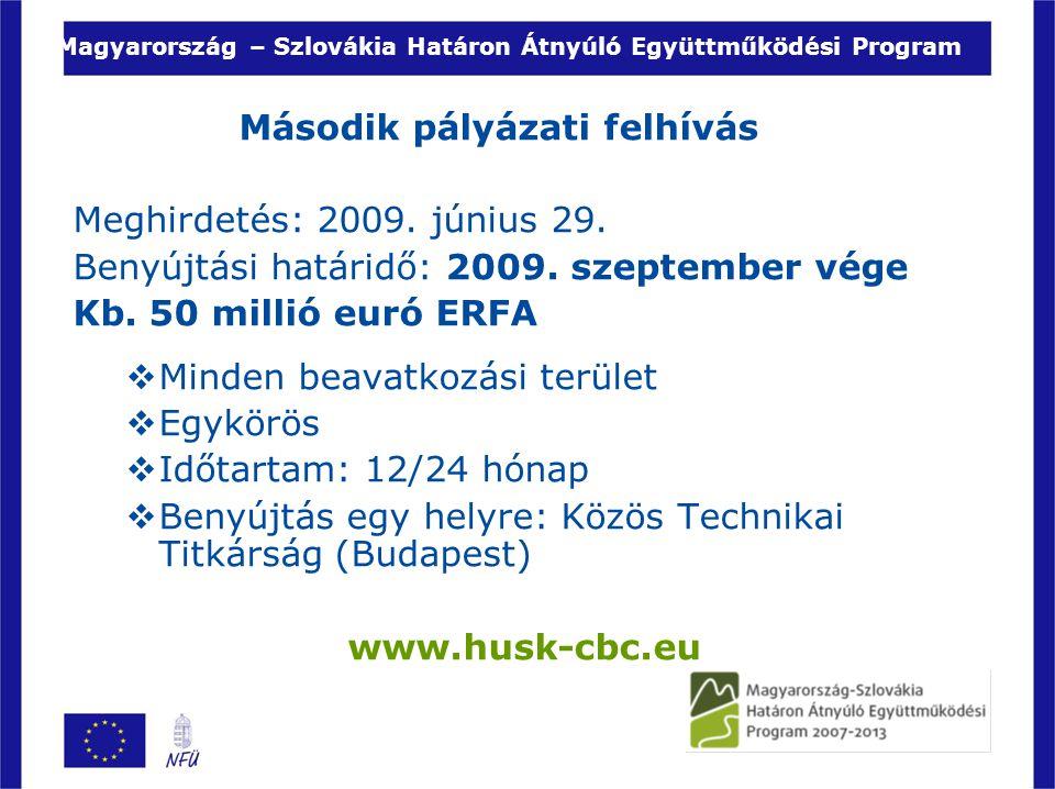 Magyarország – Szlovákia Határon Átnyúló Együttműködési Program Második pályázati felhívás Meghirdetés: 2009. június 29. Benyújtási határidő: 2009. sz