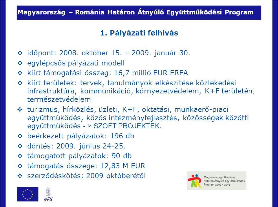 Magyarország – Románia Határon Átnyúló Együttműködési Program 1. Pályázati felhívás  időpont: 2008. október 15. – 2009. január 30.  egylépcsős pályá