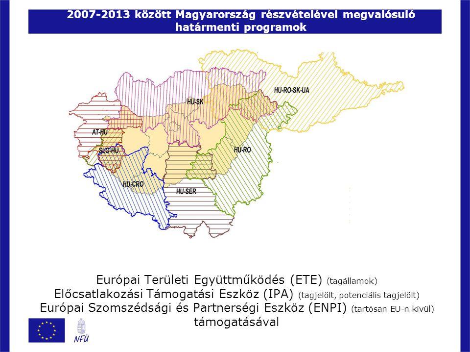A megvalósítás legfontosabb alapelvei A határmenti együttműködési programokban -a két ország határmenti megyéi működnek együtt, -a határon átnyúló gazdasági és szociális kapcsolatok fejlesztése érdekében Határon átnyúló hatás: Csak olyan pályázatok nyerhetnek támogatást, melyekben a támogatásra jogosult magyar és külföldi partnerek közösen pályáznak, s a következő négy együttműködési kritérium közül legalább kettőt teljesítenek:  közös fejlesztés  közös végrehajtás  közös projektcsapat  közös finanszírozás