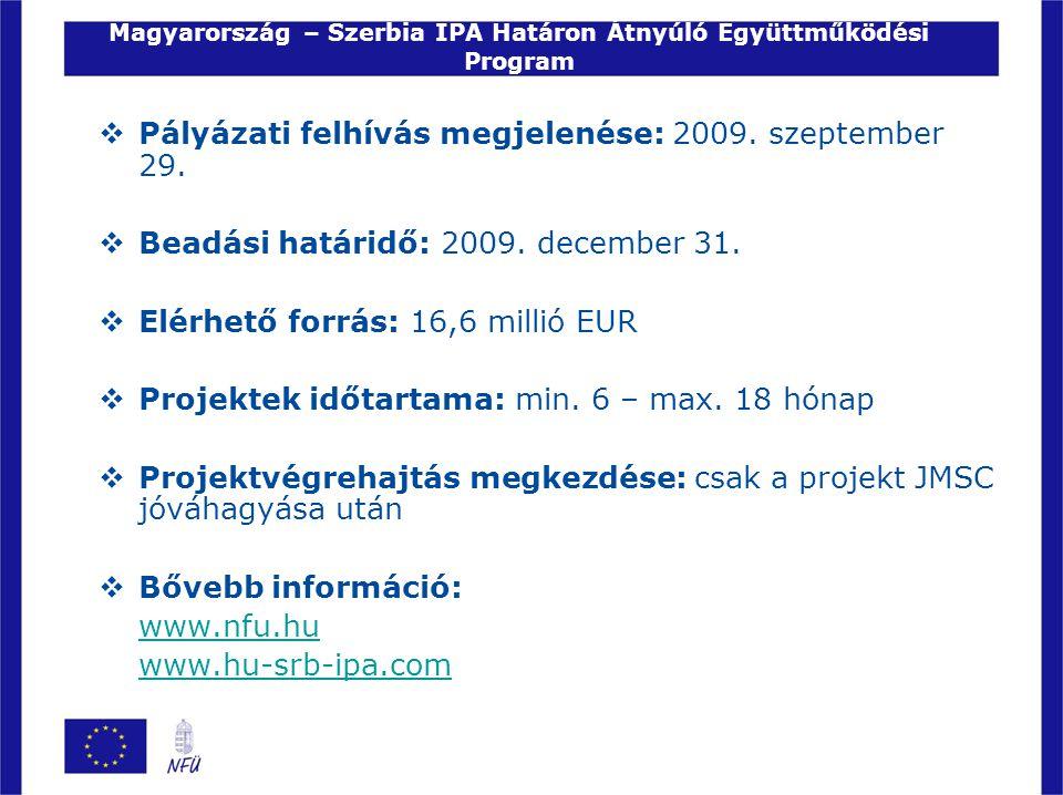 Magyarország – Szerbia IPA Határon Átnyúló Együttműködési Program  Pályázati felhívás megjelenése: 2009. szeptember 29.  Beadási határidő: 2009. dec