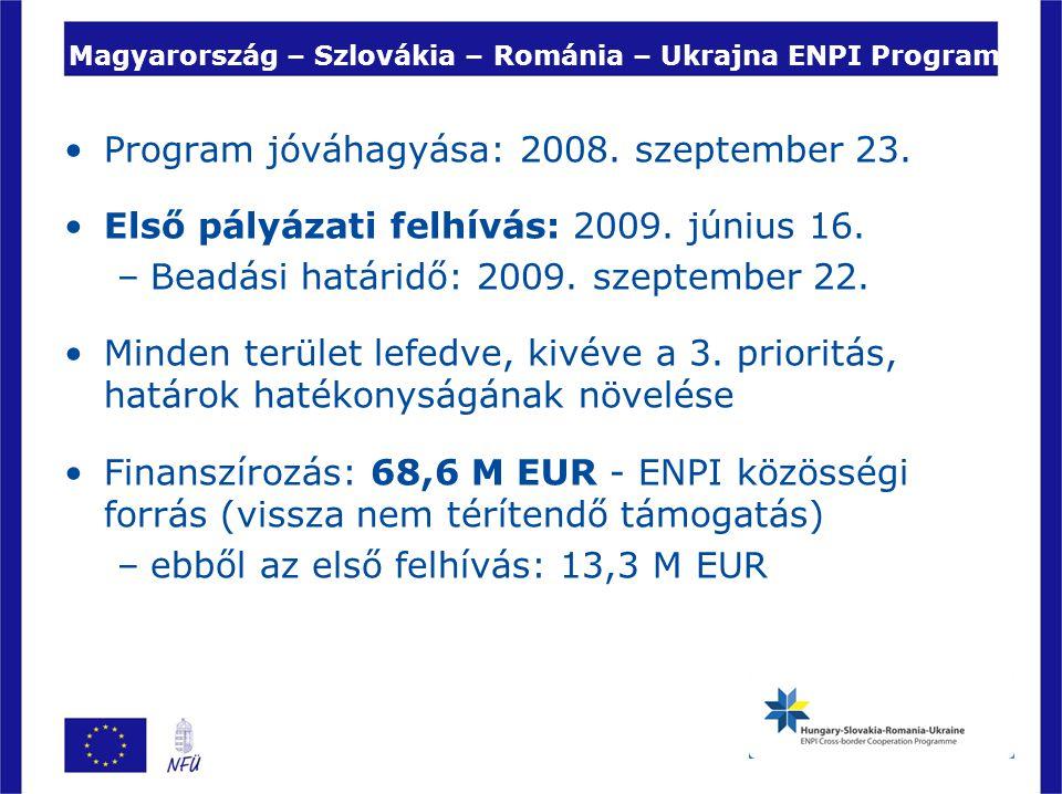 Magyarország – Szlovákia – Románia – Ukrajna ENPI Program Program jóváhagyása: 2008. szeptember 23. Első pályázati felhívás: 2009. június 16. –Beadási