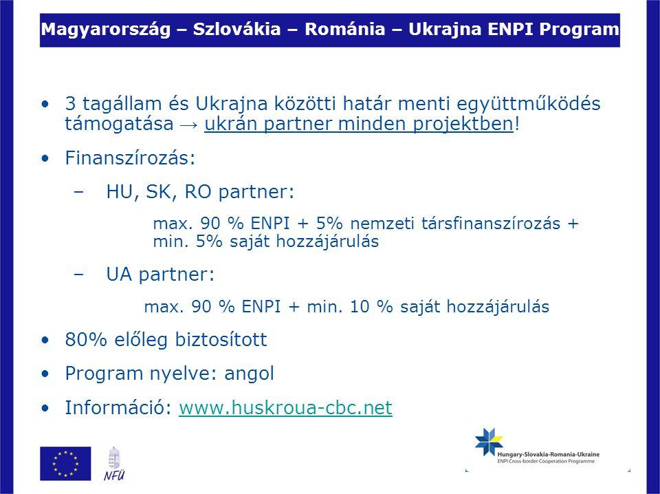 Magyarország – Szlovákia – Románia – Ukrajna ENPI Program 3 tagállam és Ukrajna közötti határ menti együttműködés támogatása → ukrán partner minden pr