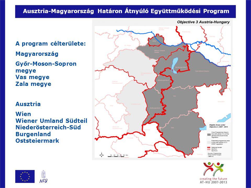 A program célterülete: Magyarország Győr-Moson-Sopron megye Vas megye Zala megye Ausztria Wien Wiener Umland Südteil Niederösterreich-Süd Burgenland O