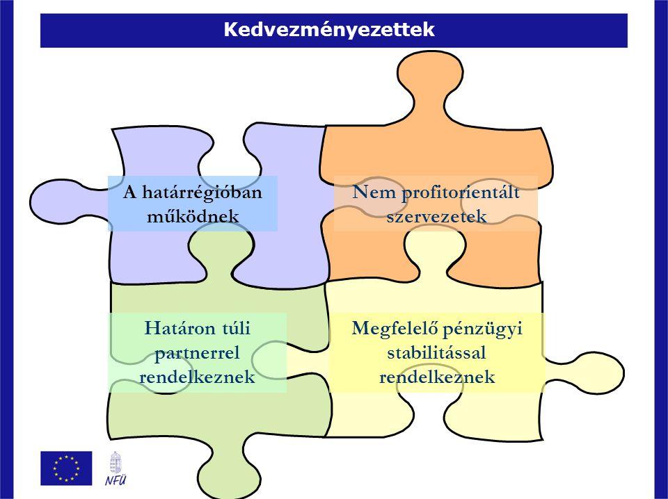 Magyarország – Románia Határon Átnyúló Együttműködési Program A finanszírozás forrásai ERFA + nemzeti társfinanszírozás – magyar pályázók esetében Maximum 95% partnerenként ERFA + nemzeti társfinanszírozás – román pályázók esetében Maximum 98% partnerenként Saját hozzájárulás - magyar pályázók esetén Minimum 5% partnerenként Saját hozzájárulás - román pályázók esetén Minimum 2% partnerenként RENDELKEZÉSRE ÁLLÓ KERET: 2007-2013: 248 242 869 EUR 211 006 439 EUR ERFA 37 236 430 EUR nemzeti társfinanszírozás (Magyarország, Románia)