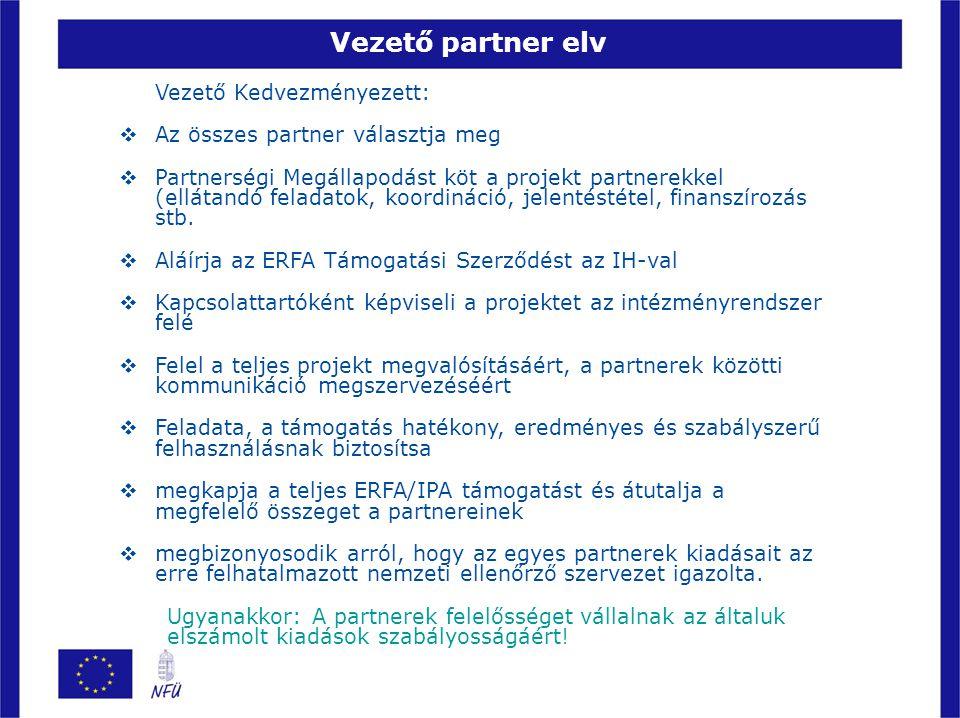 Vezető partner elv Vezető Kedvezményezett:  Az összes partner választja meg  Partnerségi Megállapodást köt a projekt partnerekkel (ellátandó feladat