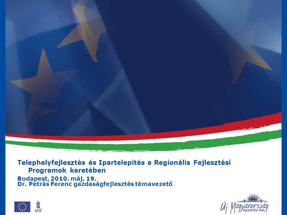Telephelyfejlesztés és Ipartelepítés a Regionális Fejlesztési Programok keretében Budapest, 2010.