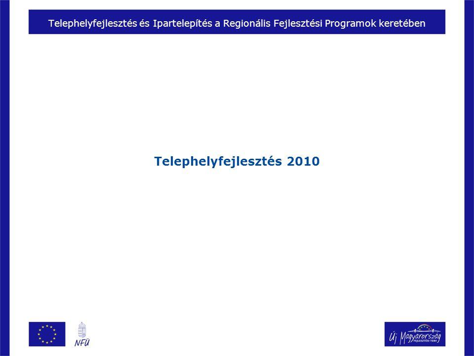Telephelyfejlesztés és Ipartelepítés a Regionális Fejlesztési Programok keretében Telephelyfejlesztés 2010