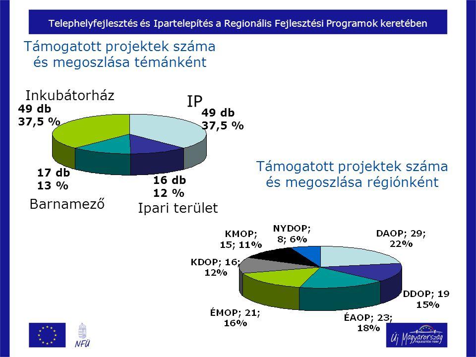 Telephelyfejlesztés és Ipartelepítés a Regionális Fejlesztési Programok keretében Támogatott projektek száma és megoszlása témánként IP Inkubátorház Barnamező Ipari terület Támogatott projektek száma és megoszlása régiónként 49 db 37,5 % 49 db 37,5 % 17 db 13 % 16 db 12 %