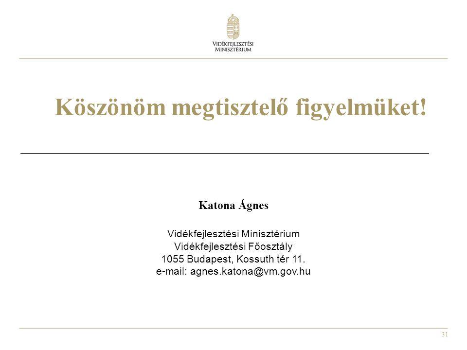 31 Köszönöm megtisztelő figyelmüket! Katona Ágnes Vidékfejlesztési Minisztérium Vidékfejlesztési Főosztály 1055 Budapest, Kossuth tér 11. e-mail: agne