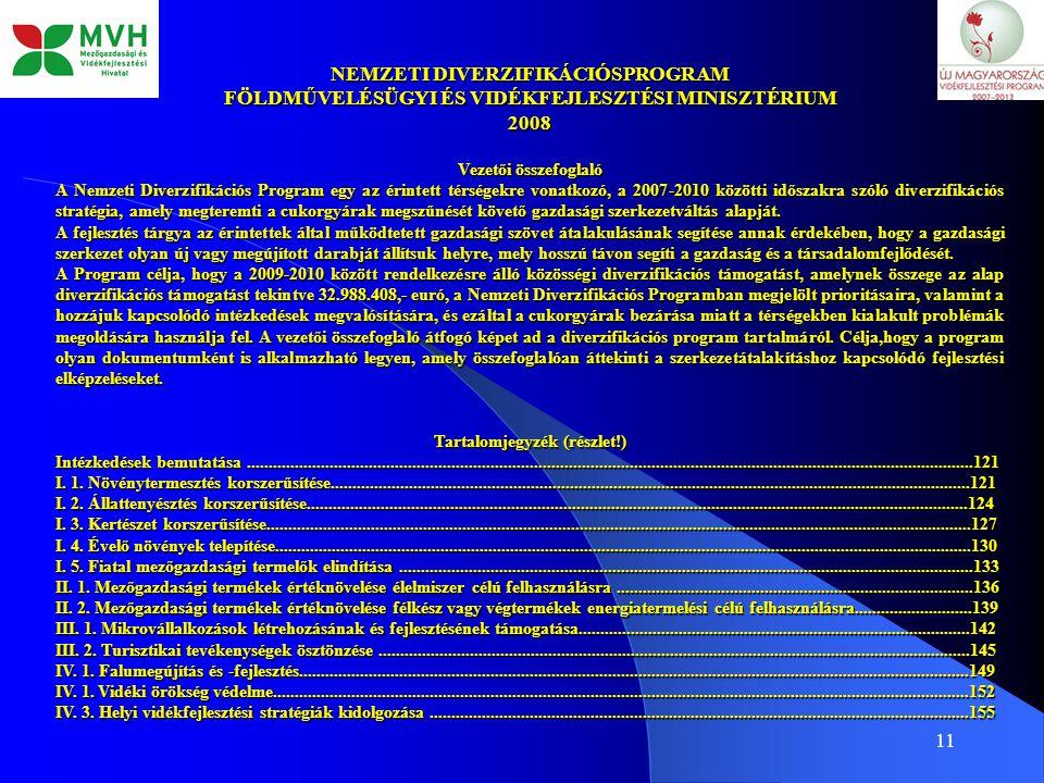 11 NEMZETI DIVERZIFIKÁCIÓSPROGRAM FÖLDMŰVELÉSÜGYI ÉS VIDÉKFEJLESZTÉSI MINISZTÉRIUM 2008 Vezetői összefoglaló A Nemzeti Diverzifikációs Program egy az