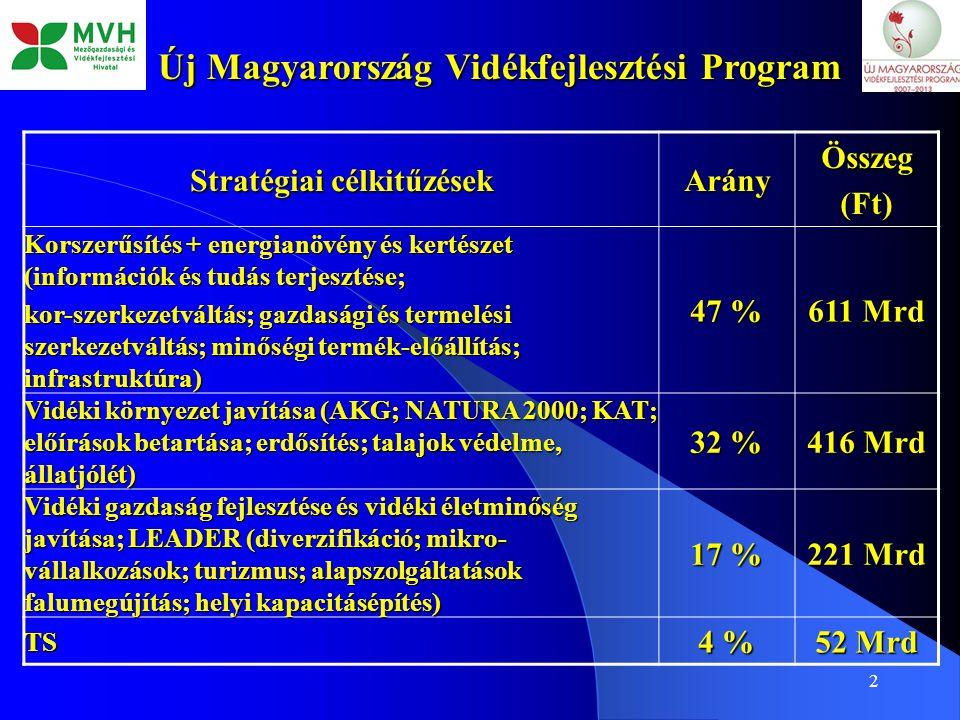 2 Új Magyarország Vidékfejlesztési Program Stratégiai célkitűzések ArányÖsszeg(Ft) Korszerűsítés + energianövény és kertészet (információk és tudás te