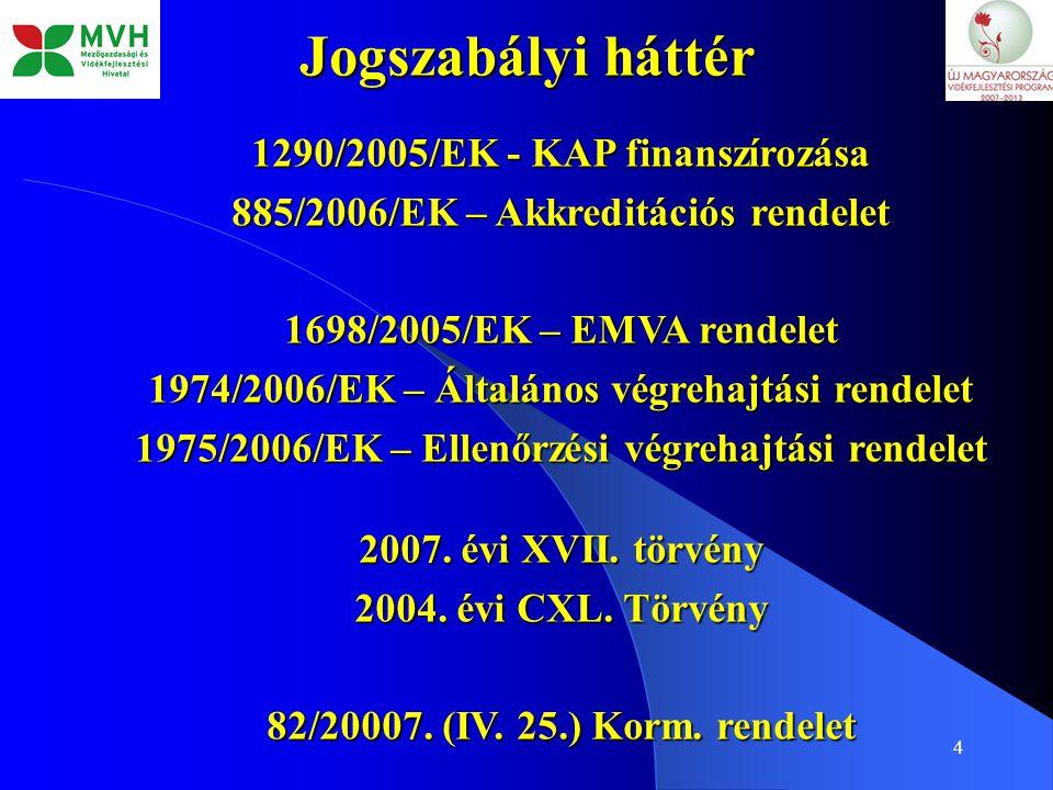 4 Jogszabályi háttér 1290/2005/EK - KAP finanszírozása 885/2006/EK – Akkreditációs rendelet 1698/2005/EK – EMVA rendelet 1974/2006/EK – Általános végr