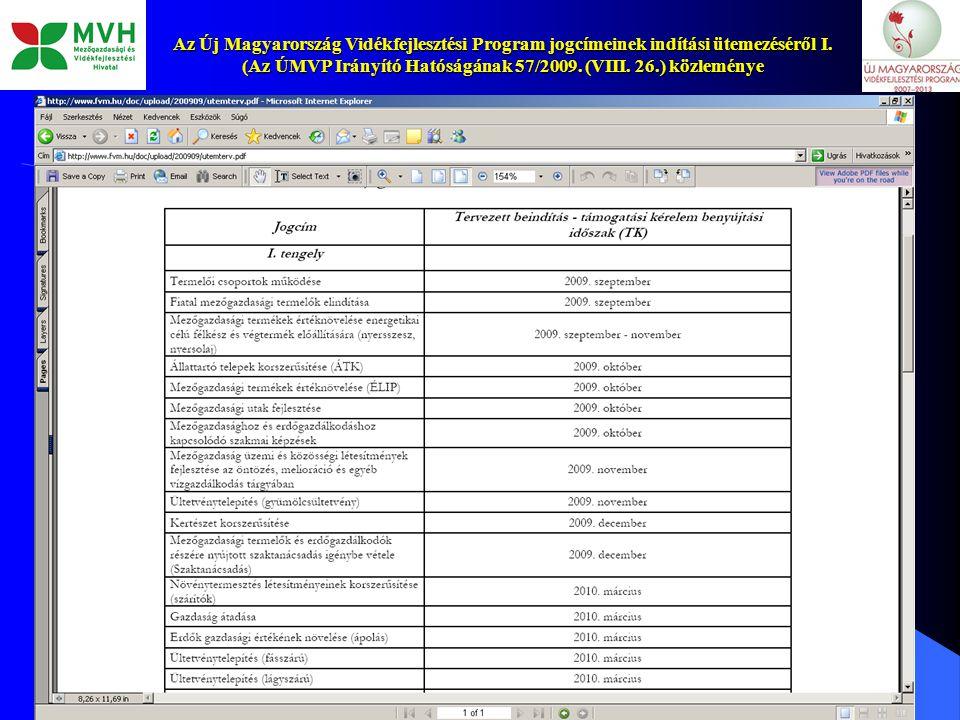 8 Az Új Magyarország Vidékfejlesztési Program jogcímeinek indítási ütemezéséről I. (Az ÚMVP Irányító Hatóságának 57/2009. (VIII. 26.) közleménye