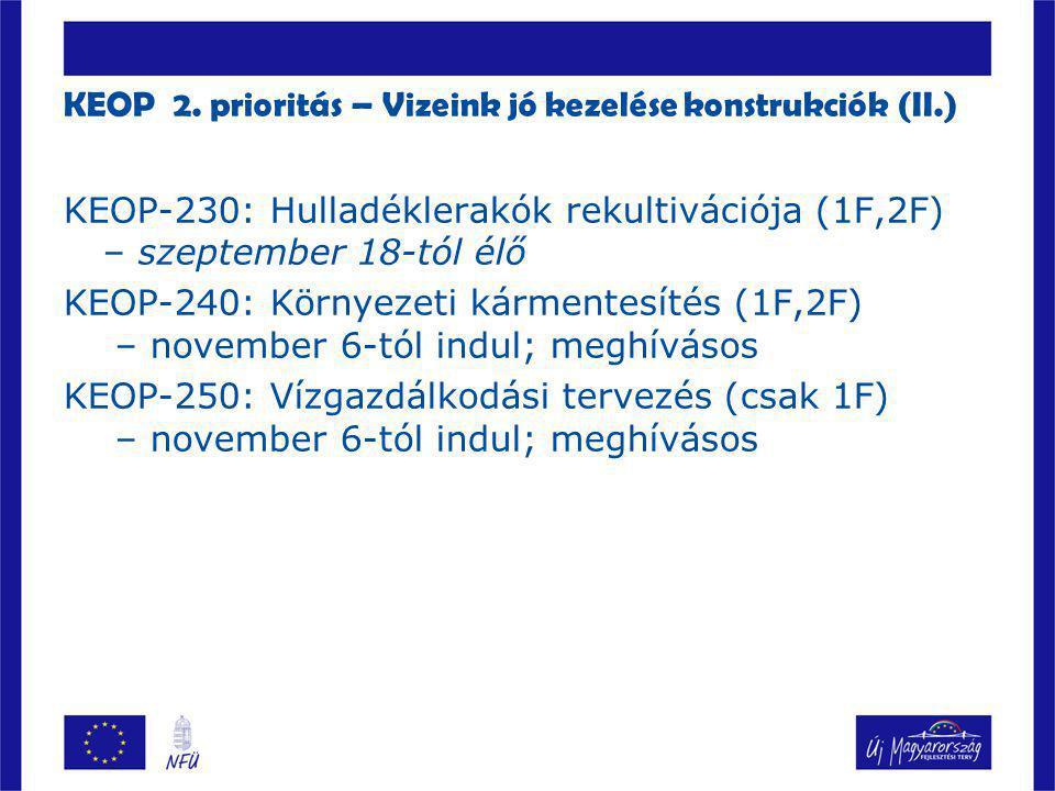 KEOP 2. prioritás – Vizeink jó kezelése konstrukciók (II.)  KEOP-230: Hulladéklerakók rekultivációja (1F,2F) – szeptember 18-tól élő KEOP-240: Környe