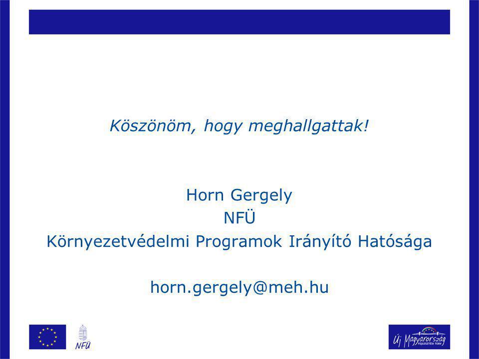 Köszönöm, hogy meghallgattak! Horn Gergely NFÜ Környezetvédelmi Programok Irányító Hatósága horn.gergely@meh.hu