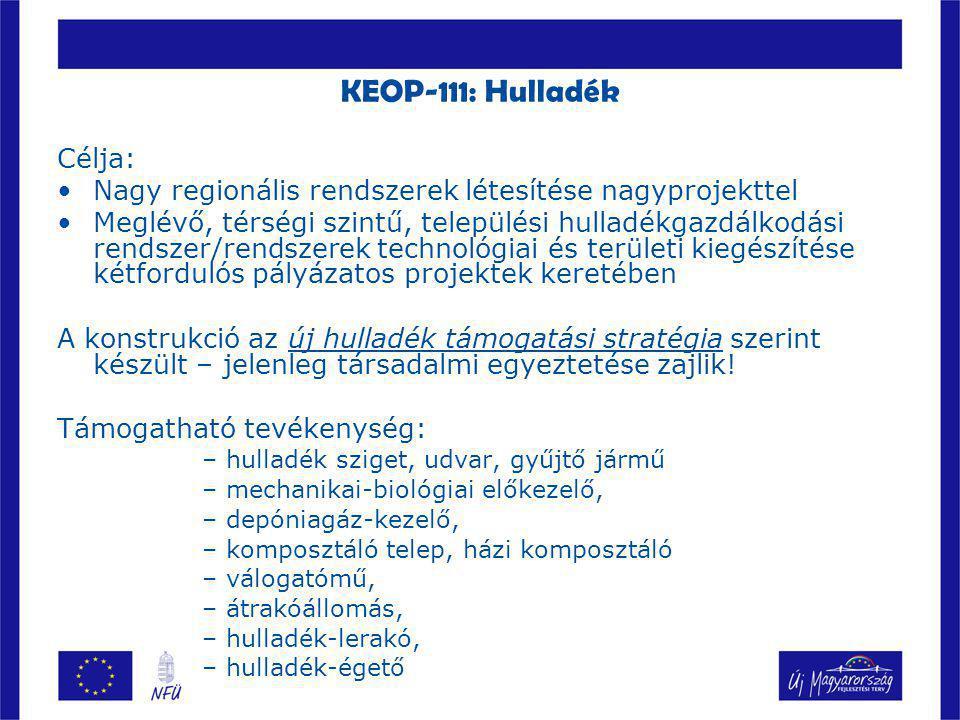 KEOP-120: Szennyvíz Célja: –csak a 2000 LE feletti agglomerációk csatornázási feladatainak, szennyvízkezelésének, iszapkezelésének és -hasznosításának, megoldása Támogatható tevékenység: –Csatorna építés, bővítés; szennyvítisztító telepek létesítése, korszerűsítése –egyedi szennyvízkezelés; folyékony hulladék kezelés (TFH)  –szennyvíziszap hasznosítás/ártalmatlanítás komposztálás termikus hasznosítás (égetés)  biogáz termelés mezőgazdasági hasznosítás feltételeinek fejlesztése –Csatorna rekonstrukció (elszámolható költségek max.
