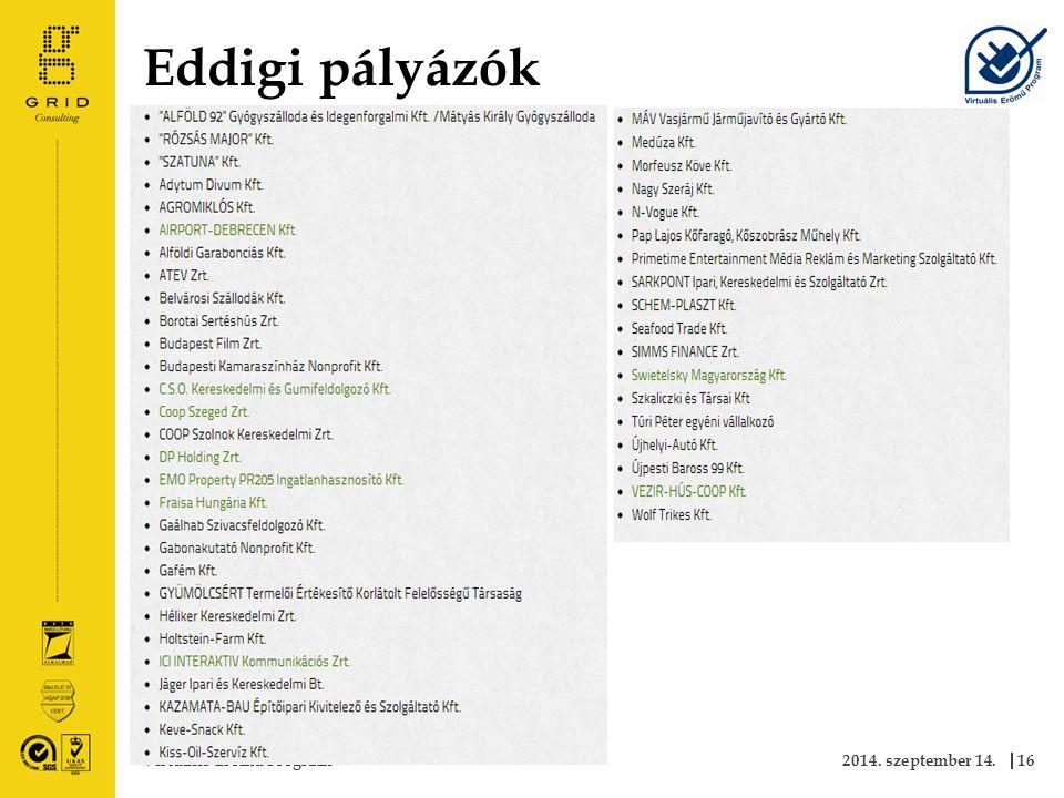 Eddigi pályázók 2014. szeptember 14.Virtuális Erőmű Program16