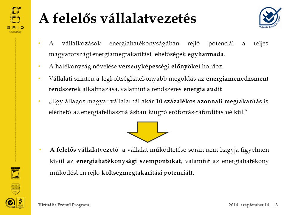 A felelős vállalatvezetés A vállalkozások energiahatékonyságában rejlő potenciál a teljes magyarországi energiamegtakarítási lehetőségek egyharmada.