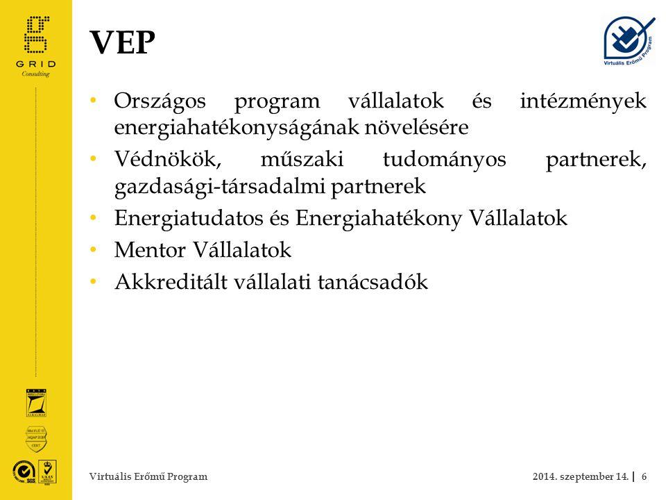VEP Országos program vállalatok és intézmények energiahatékonyságának növelésére Védnökök, műszaki tudományos partnerek, gazdasági-társadalmi partnerek Energiatudatos és Energiahatékony Vállalatok Mentor Vállalatok Akkreditált vállalati tanácsadók 2014.