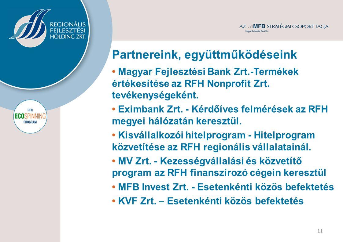 Partnereink, együttműködéseink 11 Magyar Fejlesztési Bank Zrt.-Termékek értékesítése az RFH Nonprofit Zrt. tevékenységeként. Eximbank Zrt. - Kérdőíves