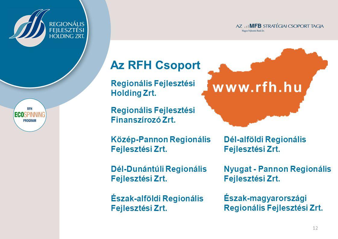 Az RFH Csoport 12 Észak-magyarországi Regionális Fejlesztési Zrt. Nyugat - Pannon Regionális Fejlesztési Zrt. Dél-alföldi Regionális Fejlesztési Zrt.